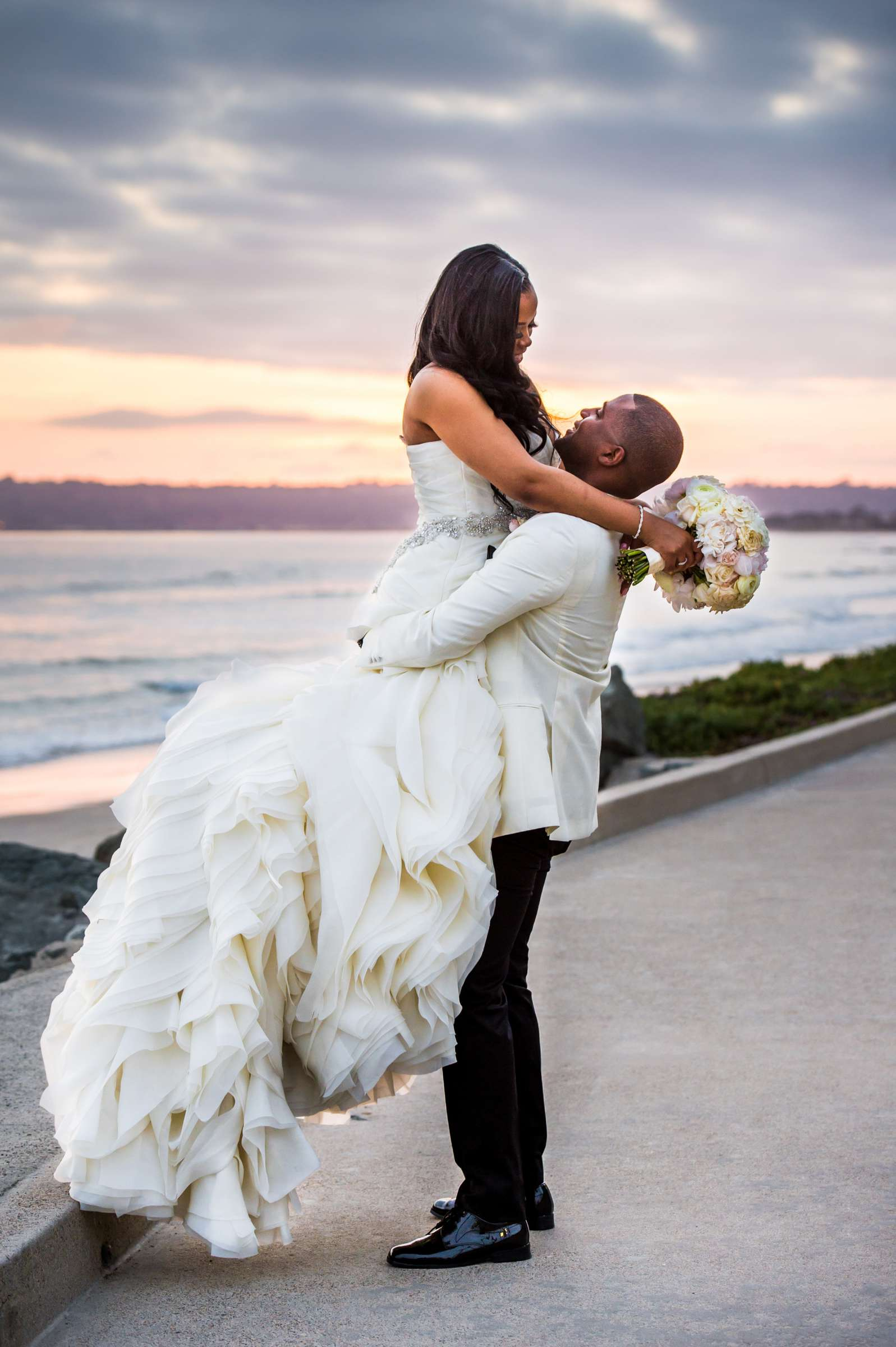 Sunset, Romantic moment, Bride and Groom at Coronado Community Center Wedding coordinated by First Comes Love Weddings & Events, Nikia and Charles Wedding Photo #95 by True Photography