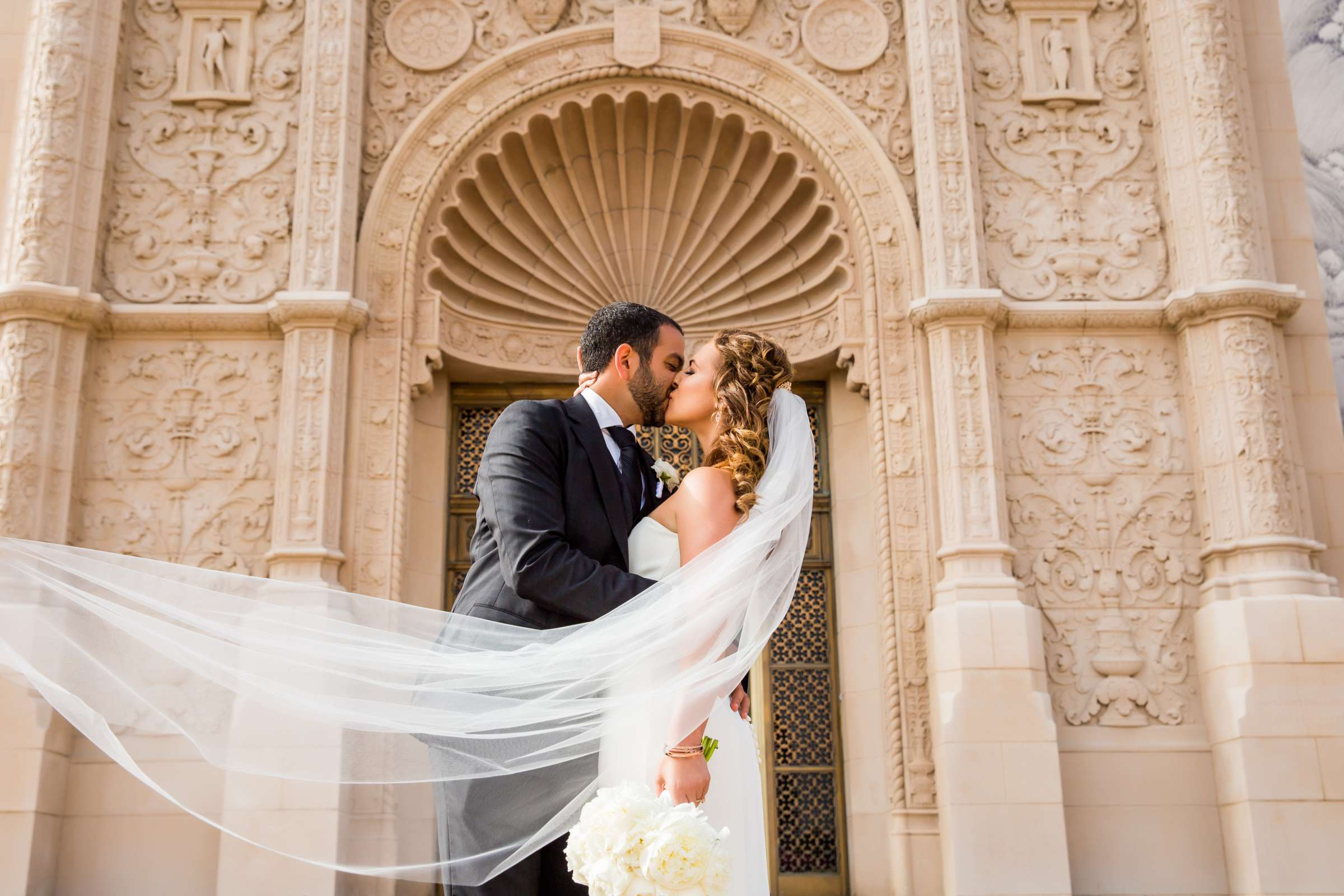 Romantic moment, Stylized Portrait at San Diego Museum of Art Wedding coordinated by First Comes Love Weddings & Events, Ruthie and Larry Wedding Photo #236736 by True Photography