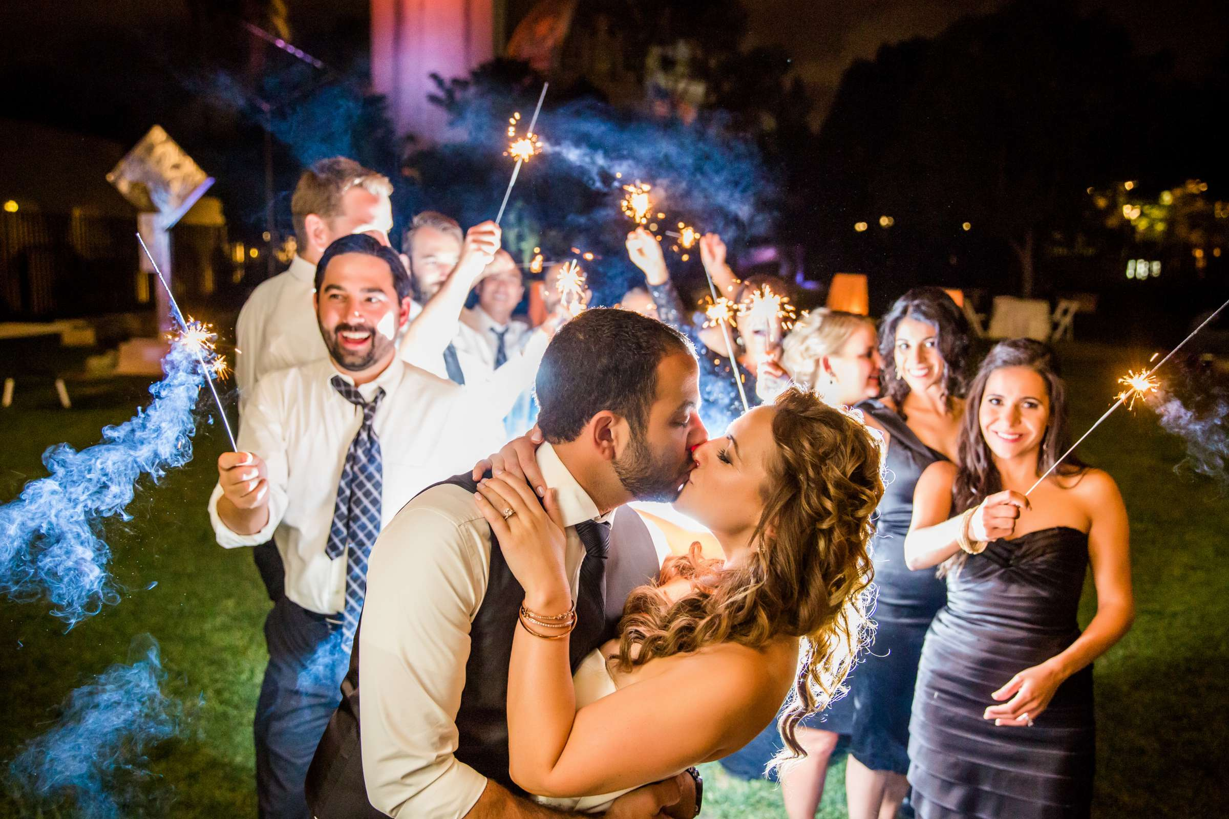 Sparklers, Night Shot, Bridal Party, Reception at San Diego Museum of Art Wedding coordinated by First Comes Love Weddings & Events, Ruthie and Larry Wedding Photo #236740 by True Photography
