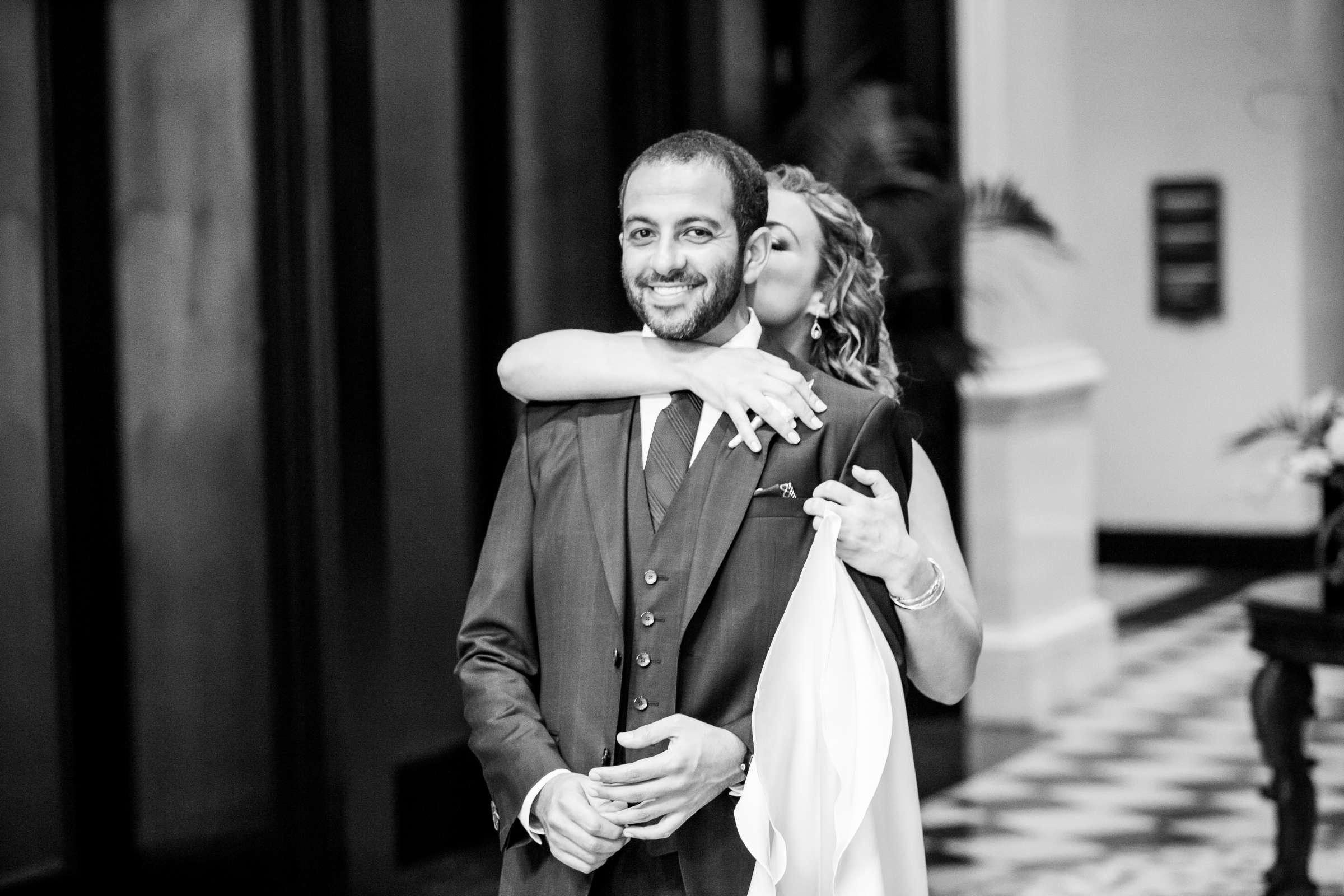 Black and White photo at San Diego Museum of Art Wedding coordinated by First Comes Love Weddings & Events, Ruthie and Larry Wedding Photo #236783 by True Photography