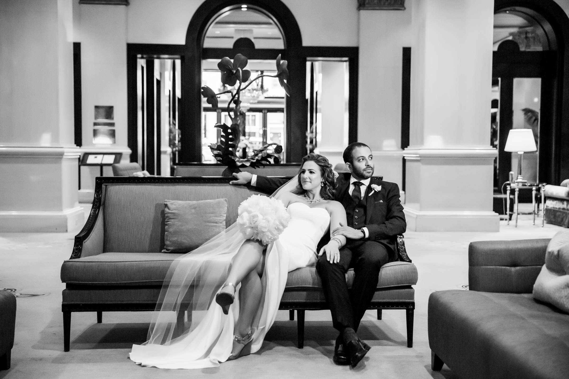Classical moment, Black and White photo at San Diego Museum of Art Wedding coordinated by First Comes Love Weddings & Events, Ruthie and Larry Wedding Photo #236792 by True Photography
