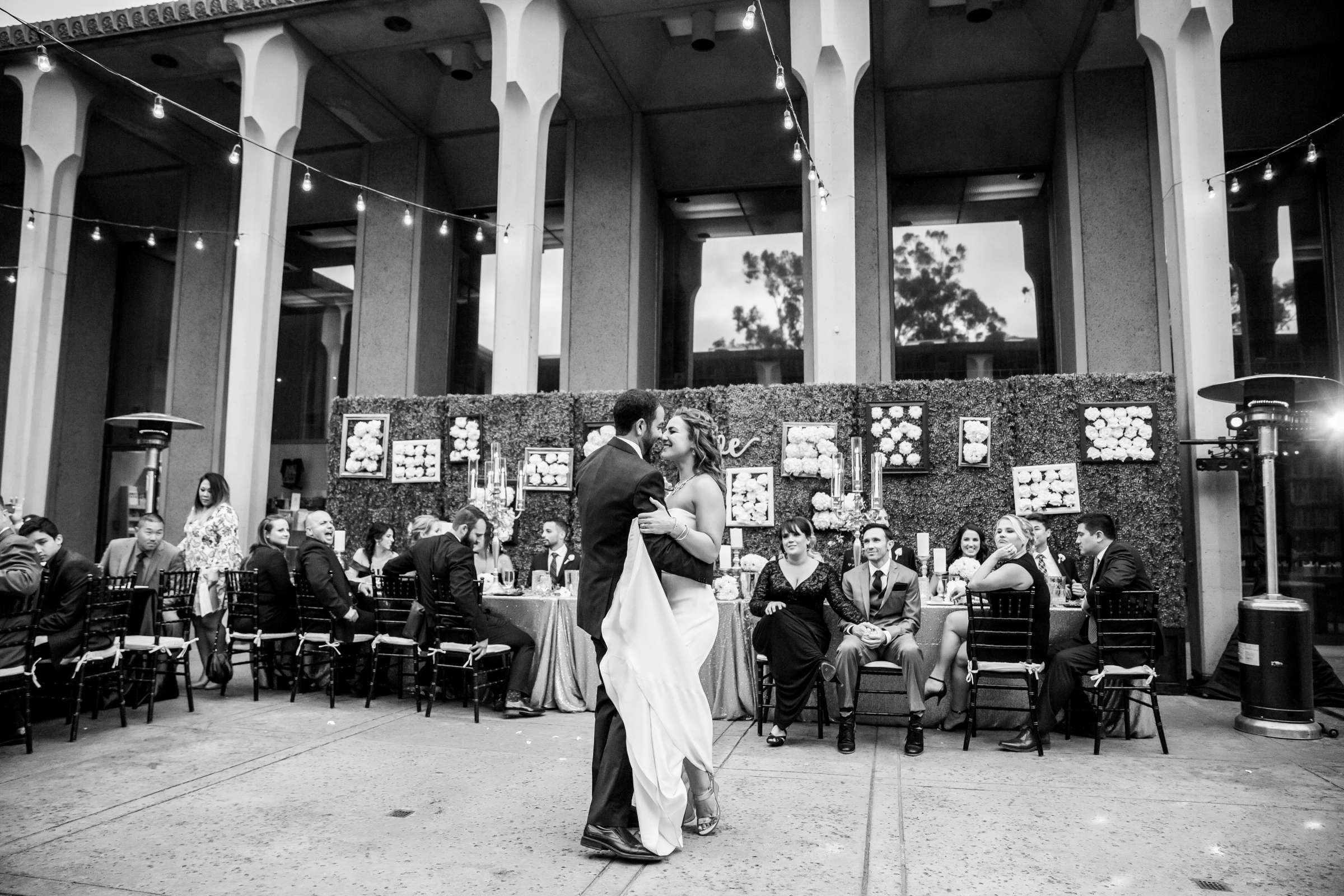 First Dance, Black and White photo at San Diego Museum of Art Wedding coordinated by First Comes Love Weddings & Events, Ruthie and Larry Wedding Photo #236843 by True Photography