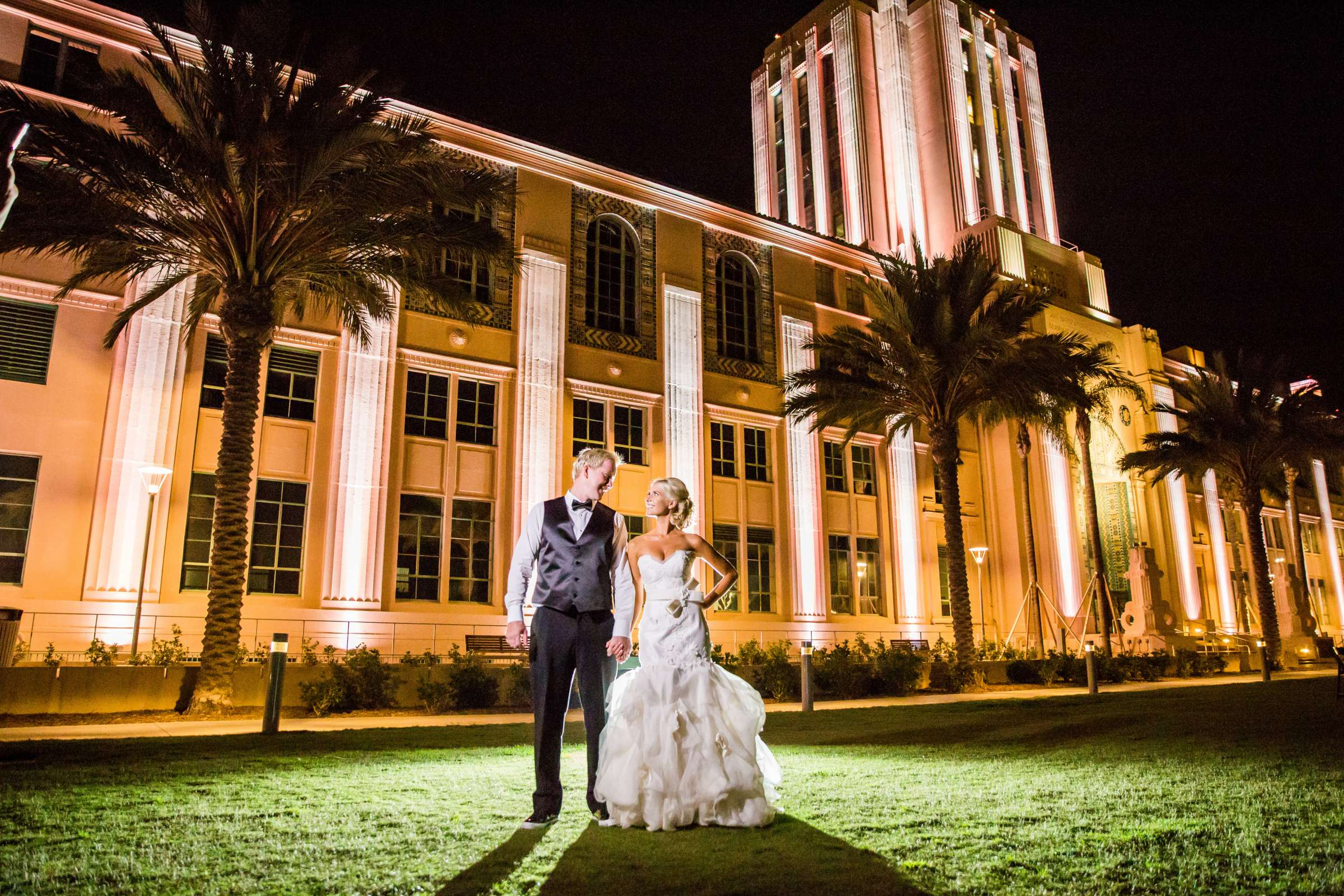 contemporary photo, Night Shot at Waterfront Park Wedding coordinated by Socal Soiree, Jennell and Terry Wedding Photo #1 by True Photography